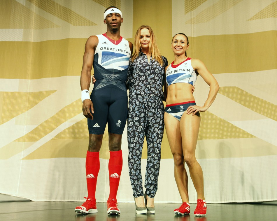 Triple-jumper-phillips-idowu-l-and-heptathlete-jessica-ennis-pose-wear-Creativity-in-London-Creative-Mapping-Review-London-2012-Olympics