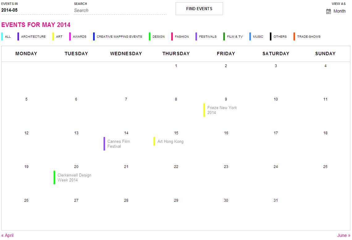 Creative Mapping Events Calendar
